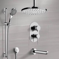 Chrome Tub and Shower System with Ceiling Rain Shower Head and Hand Shower