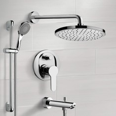 Chrome Tub and Shower Faucet Set With Rain Shower Head and Hand Shower