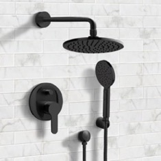 Matte Black Shower Set With 8