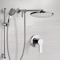Chrome Shower Set With Rain Shower Head and Hand Shower