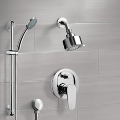 Chrome Shower System with Multi Function Shower Head and Hand Shower