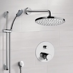 Remer SFR04 Chrome Thermostatic Shower System with 8