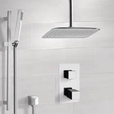 Remer SFR7400 Chrome Thermostatic Shower System with Ceiling 14