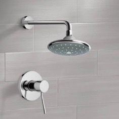 Chrome Shower Faucet Set with 6