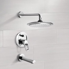 Chrome Tub and Shower Faucet Sets with 9
