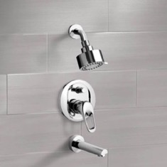 Chrome Tub and Shower Faucet Sets with Multi Function Shower Head