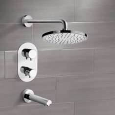 Chrome Thermostatic Tub and Shower Faucet Sets with 10