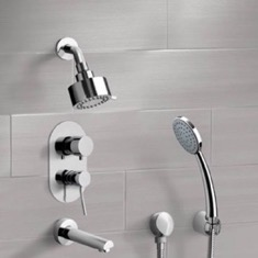 Chrome Tub and Shower System with Multi Function Shower Head and Hand Shower