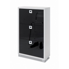 Sarmog 573GW-GB Shoe Rack with 3 Folding Double-Depth Doors With Glossy White Base and Glossy Black Doors