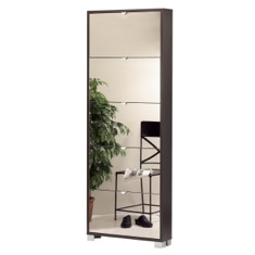 Wenge Shoes Rack with 5 Folding Single-Depth Mirror Doors 755WE-SP