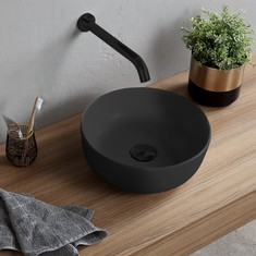 Round Matte Black Vessel Sink in Ceramic