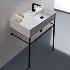 Ceramic Console Sink and Matte Black Stand