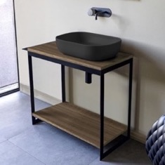 Console Sink Vanity With Matte Black Vessel Sink and Natural Brown Oak Shelf
