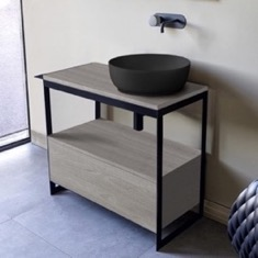 Console Sink Vanity With Matte Black Vessel Sink and Grey Oak Drawer