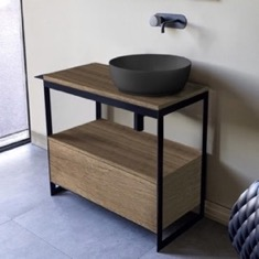 Console Sink Vanity With Matte Black Vessel Sink and Natural Brown Oak Drawer