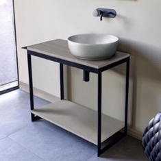 Console Sink Vanity With Ceramic Vessel Sink and Grey Oak Shelf