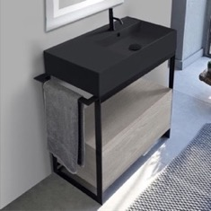 Console Sink Vanity With Matte Black Ceramic Sink and Grey Oak Drawer