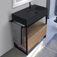 Console Sink Vanity With Matte Black Ceramic Sink and Natural Brown Oak Drawer