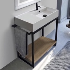 Console Sink Vanity With Ceramic Sink and Natural Brown Oak Shelf