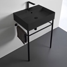 Matte Black Ceramic Console Sink and Matte Black Stand