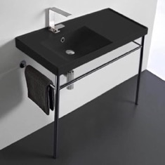 Matte Black Ceramic Console Sink and Polished Chrome Stand