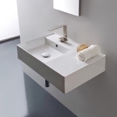 Scarabeo 5114 Rectangular Ceramic Wall Mounted or Vessel Sink With Counter Space