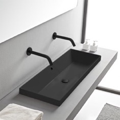 Rectangular Matte Black Ceramic Trough Drop In Sink