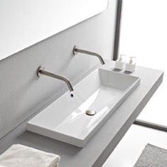 Rectangular White Ceramic Trough Drop In Sink