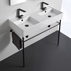 Double Ceramic Console Sink With Matte Black Stand