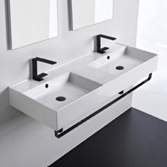 Double Ceramic Wall Mounted Sink With Matte Black Towel Holder