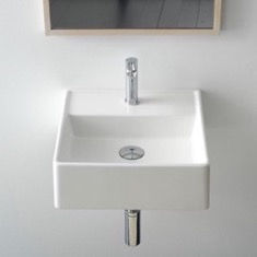 Small Square Ceramic Wall Mounted or Vessel Sink
