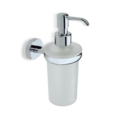 Chrome Frosted Glass Soap Dispenser with Brass Mounting