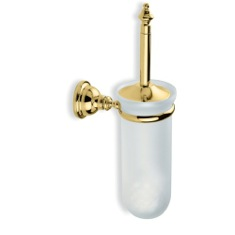 Gold Finish Classic Style Wall Mounted Glass Toilet Brush Holder