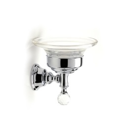 Chrome Wall Mounted Clear Glass Soap Dish with Crystal