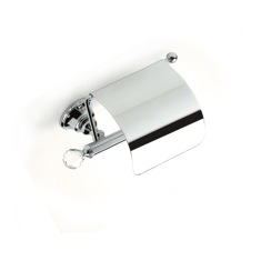 Brass Covered Toilet Roll Holder with Crystal