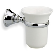 Wall Mounted White Ceramic Toothbrush Holder with Brass Mounting SM10