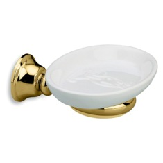 White Wall Mounted Ceramic Soap Dish with Gold Finish Brass Mounting