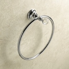 Chrome or Gold Finish Towel Ring with Crystal