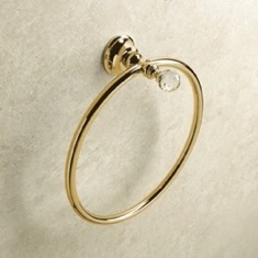 Gold Finish Towel Ring with Crystal