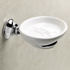 Wall Mounted Round White Ceramic Soap Dish with Chrome Brass Mounting