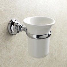 Wall Mounted White Ceramic Toothbrush Holder with Chrome Brass Mounting