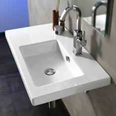 Tecla CO01011 Rectangular White Ceramic Wall Mounted or Drop In Sink