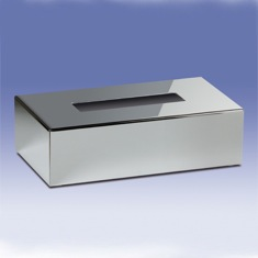 Rectangle Tissue Box Cover in Chrome or Satin Nickel