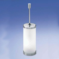 Frosted Crystal Glass Toilet Brush Holder with Brass Handle