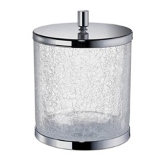 Round Crackled Glass Bathroom Waste Bin with Cover