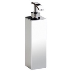 Tall Squared Chrome, Gold Finish or Satin Nickel Bathroom Soap Dispenser