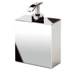 Box Shaped Chrome, Gold Finish, or Satin Nickel Wall Mounted Soap Dispenser