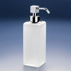 Squared Tall Frosted Crystal Glass Soap Dispenser