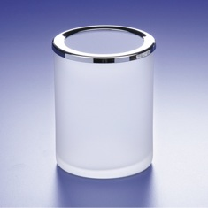 Rounded Frosted Crystal Glass Toothbrush Holder