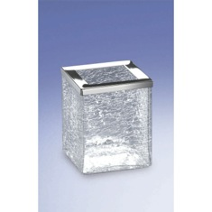 Free Standing Crackled Glass Square Toothbrush Holder
